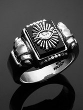 ALL SEEING EYE PILLAR STONE RING
